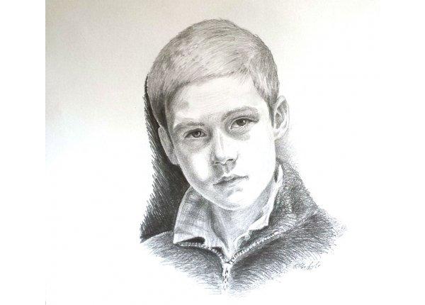 Portret rysowany ołówkiem ze zdjęcia lub z natury
