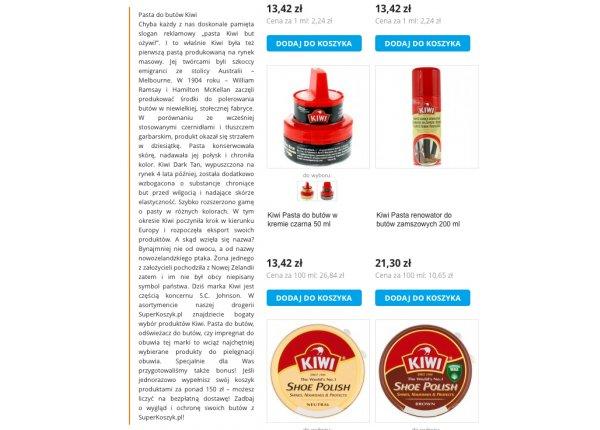 Opis kategorii produktów w sklepie internetowym