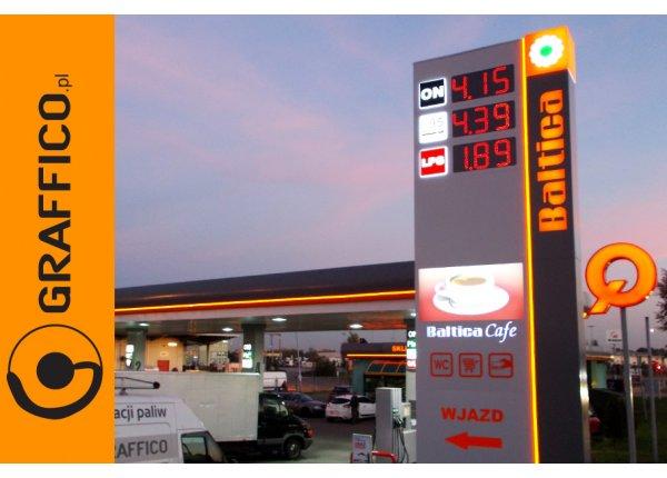 Oznakowanie reklamowe stacji paliw, pylony cenowe, otoki reklamowe