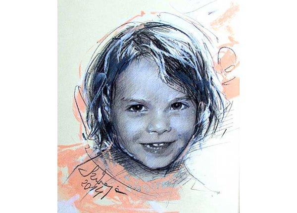 Szkic portretowy rysowany kredką lub ołówkiem, A4