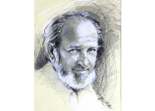 Szkic portretowy rysowany kredką lub ołówkiem, A3