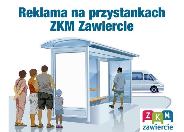 Reklama na przystankach ZKM Zawiercie - centrum miasta