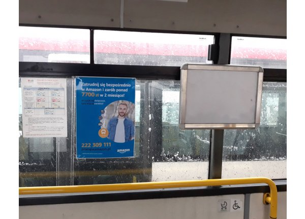 Plakaty w autobusach w Zawierciu, format A4 i A3