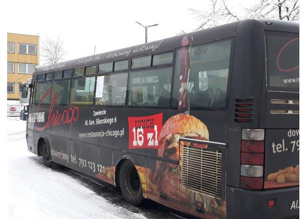 Reklama - cały lewy bok autobusu - ZKM Zawiercie
